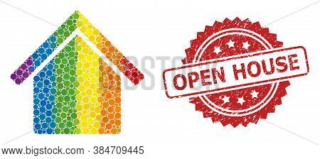 House Collage Icon Of Spheric Dots In Various Sizes And Lgbt Colored Color Hues, And Open House Rubb