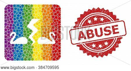 Divorce Swans Collage Icon Of Round Spots In Variable Sizes And Rainbow Colored Color Tints, And Abu