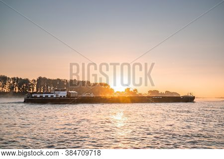 Cologne Germany August 2020, Inland Shipping Transport On The Rhine River With Containers, Large Con