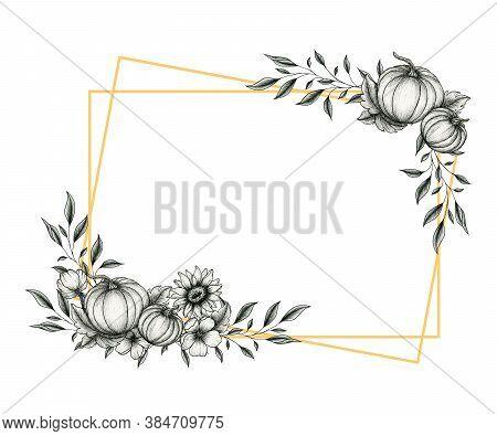 Festive Autumn Frame With Pumpkins And Sunflower Decorations, Fall Floral Line Art Design, Vintage A