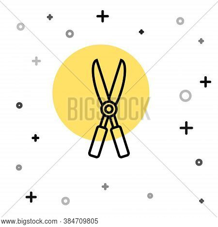 Black Line Gardening Handmade Scissors For Trimming Icon Isolated On White Background. Pruning Shear