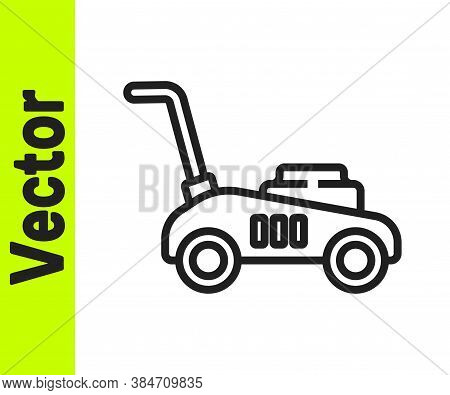 Black Line Lawn Mower Icon Isolated On White Background. Lawn Mower Cutting Grass. Vector Illustrati