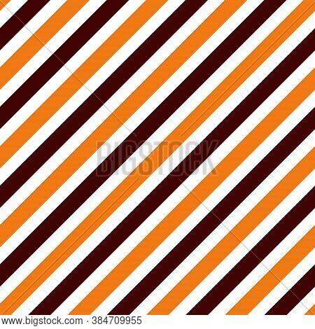 Halloween Seamless Striped Pattern, Vector Illustration. Striped Pattern With Orange And Brown Diago