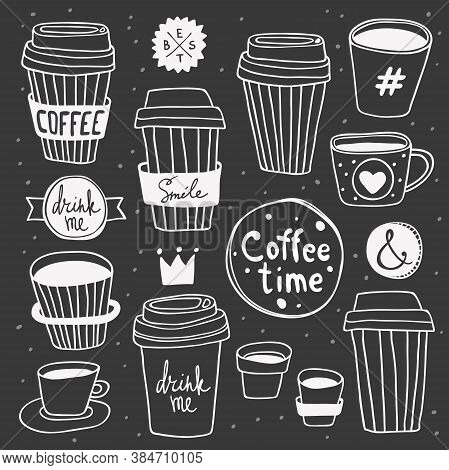 Vector Coffee Time Set. Plastic And Paper Coffee And Tea Cups. Coffee To Go. Take Away. Drink Me And