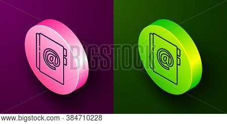 Isometric Line Address Book Icon Isolated On Purple And Green Background. Notebook, Address, Contact
