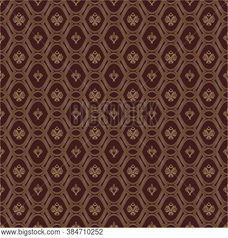 Seamless Vector Pattern. Modern Geometric Ornament With Royal Lilies. Classic Vintage Background Wit