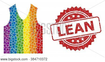 Gilet Mosaic Icon Of Filled Circle Dots In Variable Sizes And Lgbt Colored Color Tints, And Lean Rub