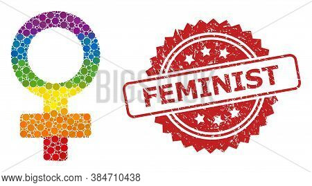 Female Symbol Collage Icon Of Filled Circle Blots In Various Sizes And Lgbt Colored Color Tinges, An