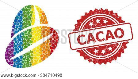 Cacao Beans Collage Icon Of Round Elements In Variable Sizes And Lgbt Colored Color Tones, And Cacao