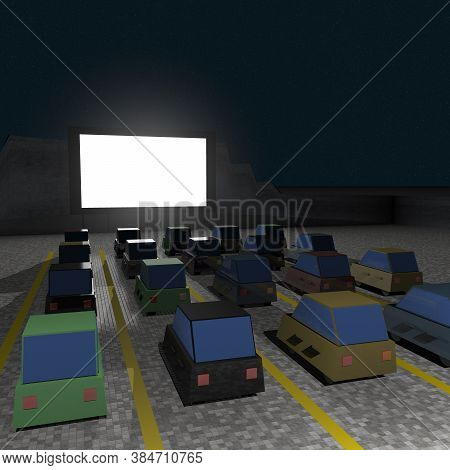 Parked Cars At Square To Watch Movies Inside The Car At Night. Cine Park Car Drive-in At Parking Lot