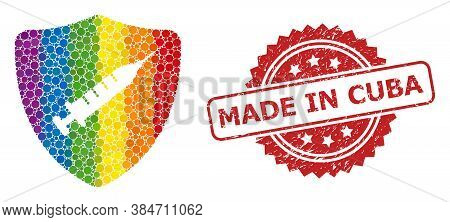 Shield Vaccine Collage Icon Of Circle Blots In Variable Sizes And Rainbow Colorful Color Tones, And