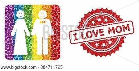 Wedding Emotions Collage Icon Of Filled Circle Dots In Different Sizes And Lgbt Colored Color Hues,