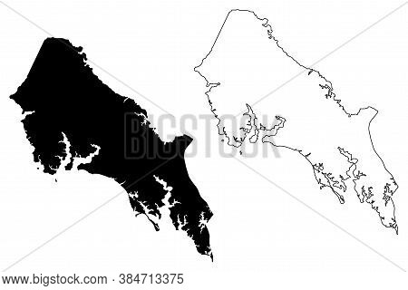St. Marys County, Maryland (u.s. County, United States Of America, Usa, U.s., Us) Map Vector Illustr