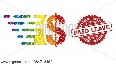Dollar Collage Icon Of Circle Elements In Different Sizes And Lgbt Colored Color Tinges, And Paid Le
