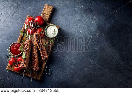 Minced Beef Kebabs On Skewers