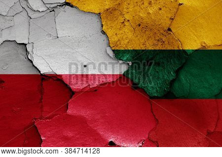 Flags Of Poland And Lithuania Painted On Cracked Wall