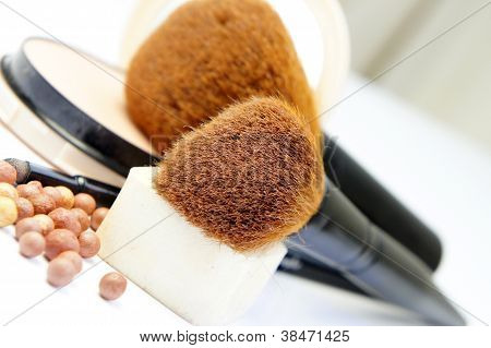 Makeup room: makeup foundation powder bronzer and brushes poster