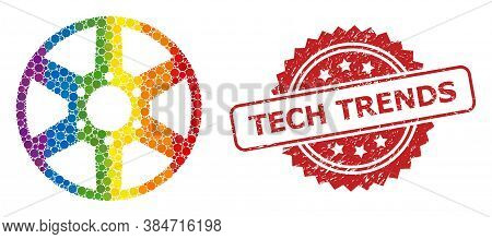 Wheel Mosaic Icon Of Round Elements In Various Sizes And Rainbow Colored Color Tones, And Tech Trend