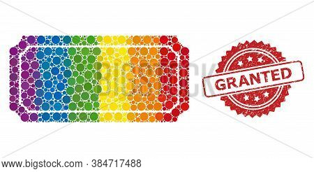 Ticket Frame Collage Icon Of Round Dots In Variable Sizes And Rainbow Color Tints, And Granted Corro