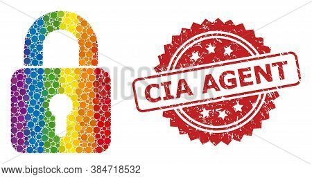 Lock Mosaic Icon Of Circle Items In Various Sizes And Lgbt Colored Color Tints, And Cia Agent Rubber