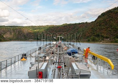 Koblenz August 2020, Inland Shipping Transport On The Rhine River With Containers, Large Container A