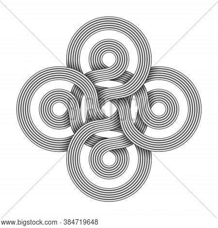 Bowen Cross Sign Made Of Two Interwoven Bundles Of Metal Wires. Modern Stylization Of Celtic Knot Sy
