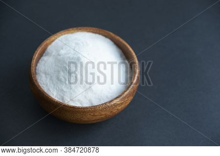 Glass Bowl Of Baking Soda. Spoonful Of Bicarbonate.