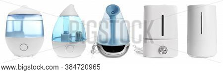 Set Of Modern Air Humidifiers On White Background