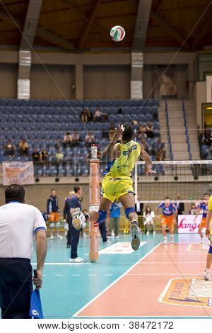 Milan, Italy - April, 13: Angel Dennis (yellow No. 7) Jumping Ball In Volley Modena (yellow) Vs. Acq