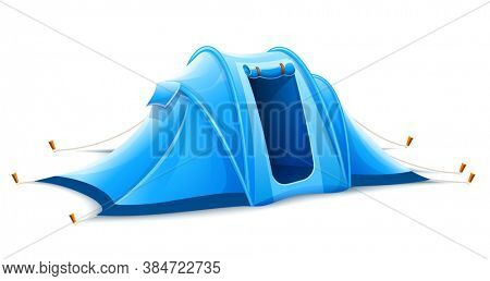 Touristic camping tent for active travel sports. Isolated on white background. 3D illustration.
