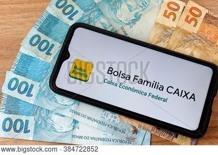 Rio De Janeiro, Brazil - September 5, 2020: Logo Bolsa Família. Financial Aid Given By The Brazilian