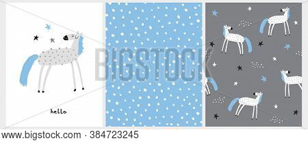Funny Hand Drawn Vector Illustration With Light Gray Horse With Blue Tail And Mane Isolated On A Whi