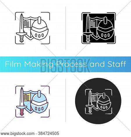 Movie Props Icon. Film Production Items. Movie Making Equipment. Foam Weapons. Theatrical Property F