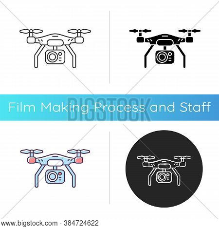 Drone Camera Icon. Mobile Helicopter To Shoot Panoramic Frame. Flying Gadget For Hobby Filmmaking. P