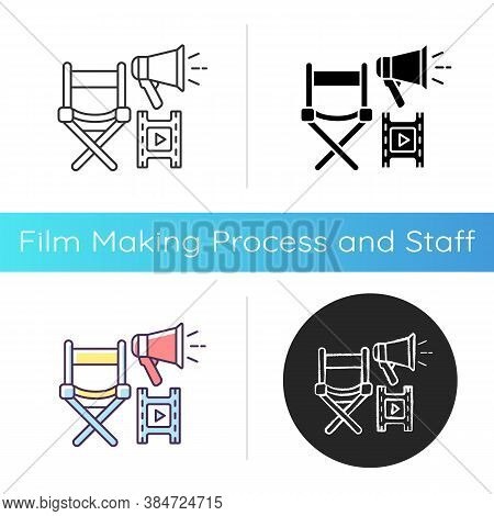 Film Director Icon. Hollywood Producer. Cinema Production Executive Seat And Megaphone. Film Making