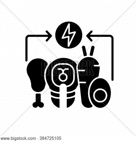 Energy Value Black Glyph Icon. Nutrient Food. Nourishment From Foodstuff. Salmon And Vegetables For