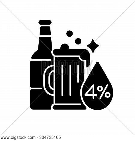 Alcohol Black Glyph Icon. Beverage In Bottle. Spirit With Alcoholic Percent. Beer Glass. Drink In Mu