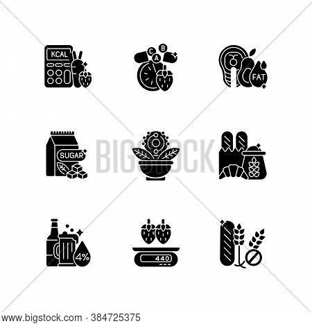 Foodstuff For Nourishment Black Glyph Icons Set On White Space. Alcohol Drink. Good Fats. Vitamin An
