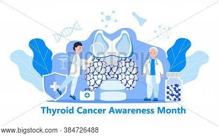 Thyroid Cancer Awareness Month Illustration. Hypothyroidism Concept Vector For App, Web.