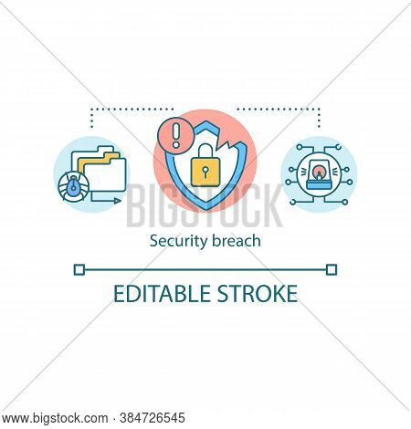 Data Cyber Security Breach Concept Icon. System Hacked Alert. Malware Ransomware. Cyber Attack Compu