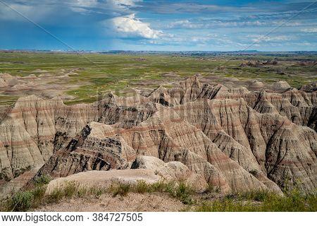 Big Badlands Overlook In Badlands National Park, In The Summer