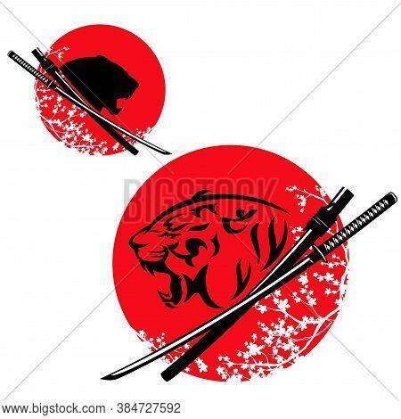 Vector Design Set For Bushido Concept - Roaring Tiger With Samurai Katana Sword Against Japanese Red