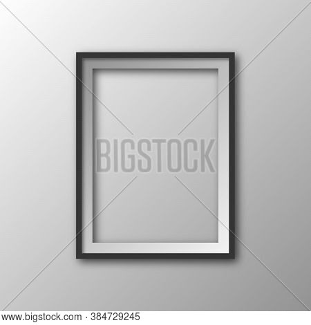 Square Frame With Shadow. Vector Illustration. Hanging Picture Frame Isolated. 3d Picture Frame