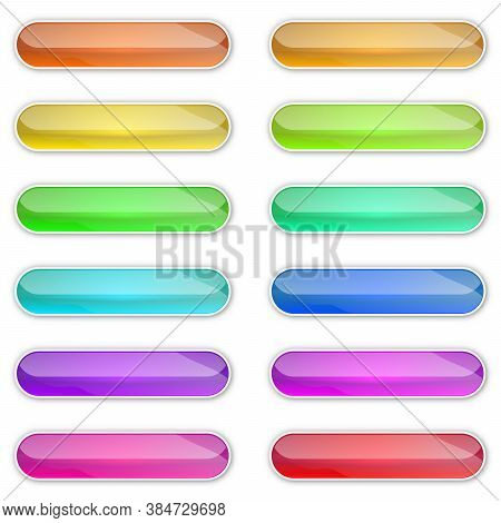 Web Glossy Buttons. Abstract Buttons With Shadow. Vector Illustration. Color Bright Buttons Isolated