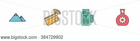 Set Mountains, Contactless Payment, Pos Terminal And Bioengineering Icon. Vector