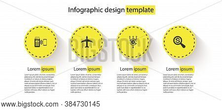 Set Pos Terminal, Plane, Algorithm And Magnifying Glass And Dollar. Business Infographic Template. V