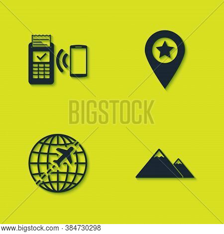 Set Pos Terminal, Mountains, Globe With Flying Plane And Location Star Icon. Vector