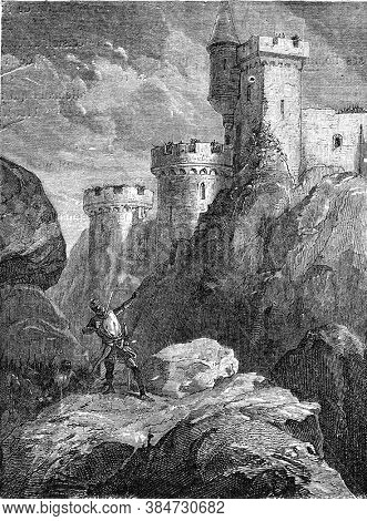Richard I wounded to death at the headquarters of the castle of Chalus, Vintage engraving. From Popular France, 1869.