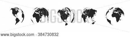 Earth Globe Icons Isolated. World Map Icons. Hemispheres Of Earth With A Different Continents. Vecto