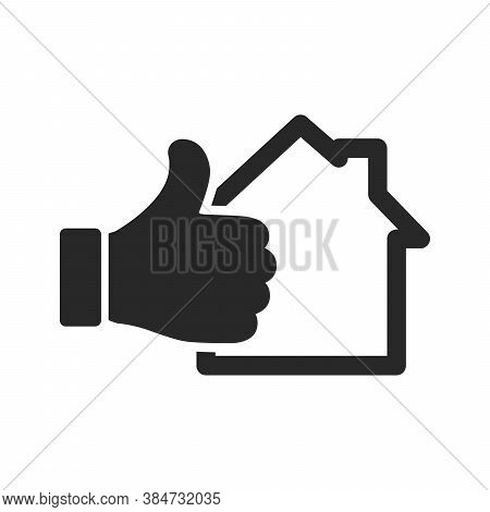House Icon And Hand With Thumb Up Isolated On White Background. Vector Illustration. Thumb Up With H